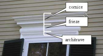 Window entablature on a Federal style house