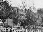 Stevens - Abbot Homestead - 10 Central St. 1870 - detail from larger image of Elm Sq. fire in 1870