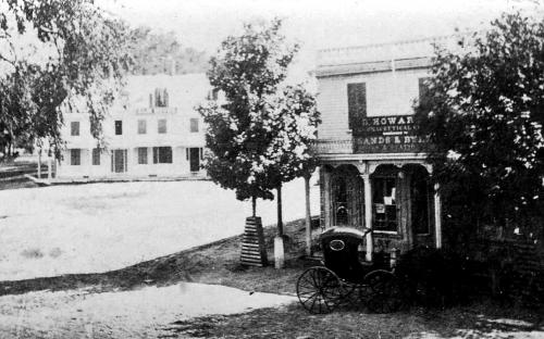 Elm House on L and Derby building on R. c. 1865
