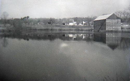 Hussey's Pond circa 1900 B.F. Holt's ice house on Poor St.