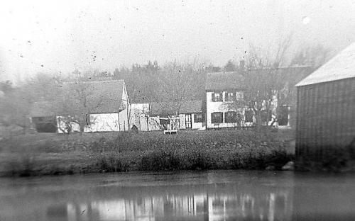 Circa 1900 - Hussey's Pond with the Bell house and Holt ice house