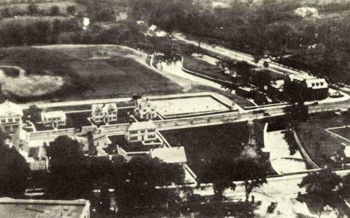 Oct. 1921 Ariel view of site with Balmoral Athletic fields & tennis courts