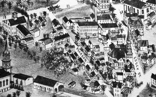 1882 Birds eye view detail of Pearson & Essex St.