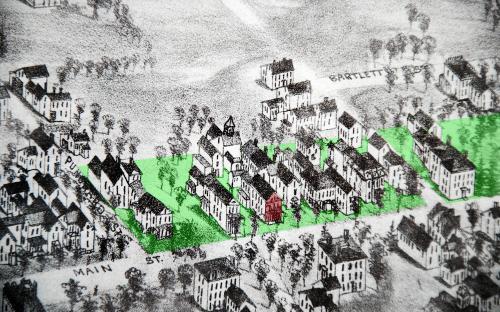1882 Birdseye detail of Main St Punchard Ave to Morton St