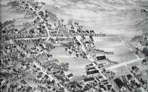 1882 Birdseye detail of Whittier - Punchard Ave