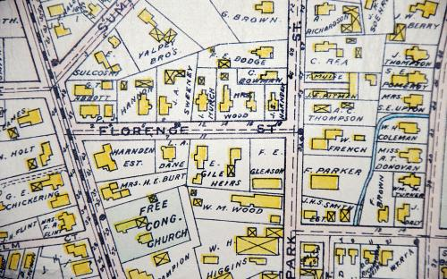 Detail of 1906 map of Florence St.