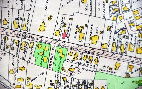 1906 map detail of High St. & Temple Place