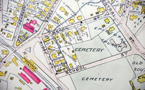 1906 Map detail of School St., Ridge St, -