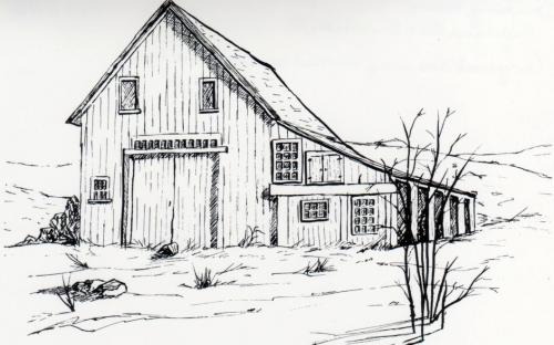 Drawing of Downing barn prior to conversion to residence
