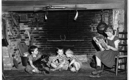Grant children at fireplace 1940s