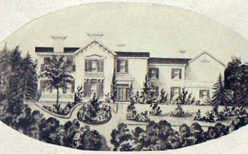 Tyer House drawing about 1870, view from Central St.