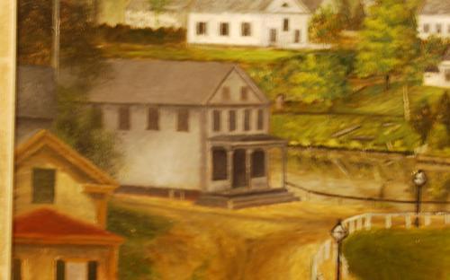Detail of Bancroft Haynes painting of Ballardvale