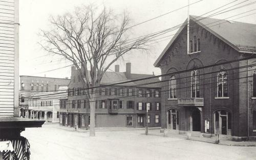 Town Hall and former Abbott Block circa 1900