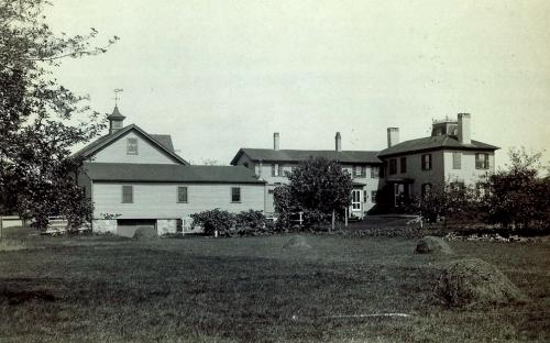 South view of home and barn, circa 1900