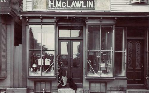 """Henry McLawlin Hardware Store 1884 - 1906, dog """"Schiider"""""""