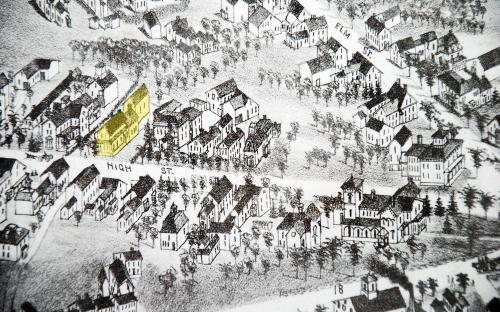 37 High St in yellow Birdseye Map 1882