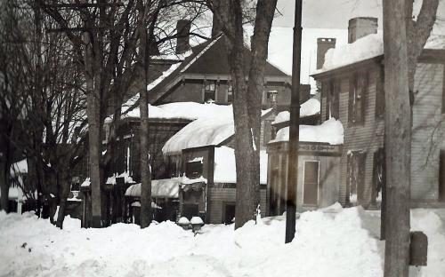 Detail circa  1900 with Harness shop and Richardson House