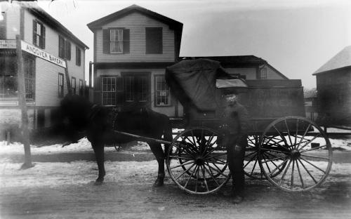 Robert Hodge with his delivery wagon