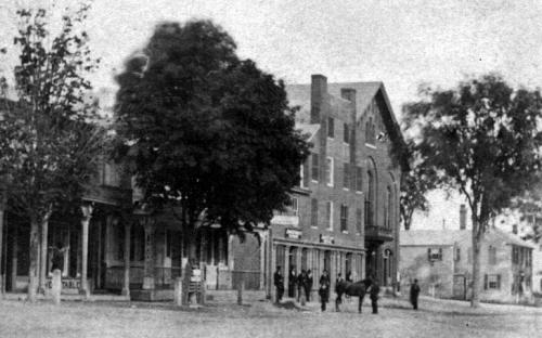 circa 1870 Shed house on right