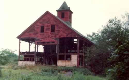 87 River Rd. - dismantling the barn 1982 - completed in Feb. 1983