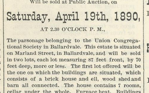 Auction Notice April 11, 1890 - Parsonage property