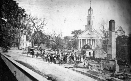 May 29, 1870 fire destruction in Elm Sq.- North Main St. view