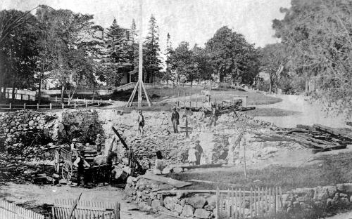 May 29, 1870 fire destruction in Elm Sq. - Essex St view
