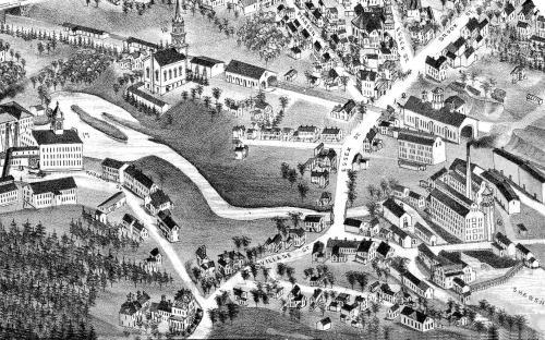 Detail Birds Eye View 1882 - Abbott Village on right - Marland Vil. on Left