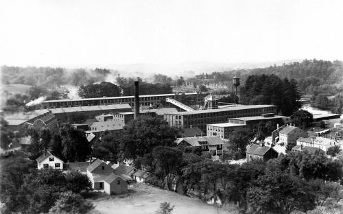 View of Smith & Dove mill complex 1908 from steeple of Old Free Church