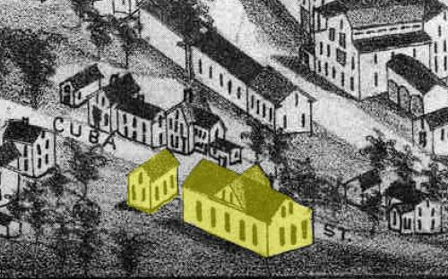 Detail from Birds Eye Map of Andover 1882 - both schools on site