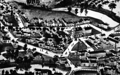 1885 detal of  Ballardvale Village birdseye map