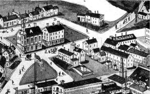 1885 Birdseye detail of the center