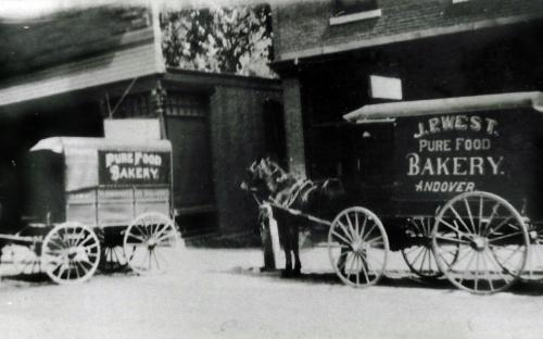 J. P. West's Bakery wagons in front of store 1904-1910