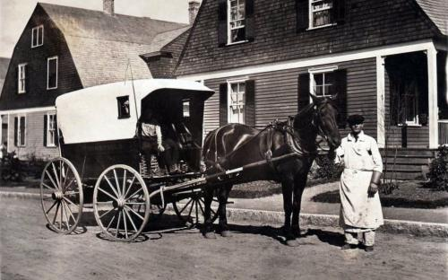 J. P. Wakefield's buther cart on Brechin Terrace circa 1910