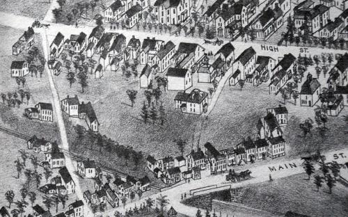 1882 Birdseye detail of High St & Harding St.