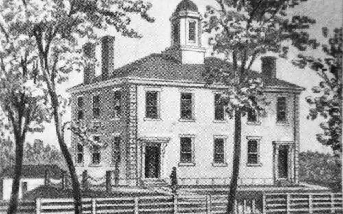 Stone Academy building etching 1852