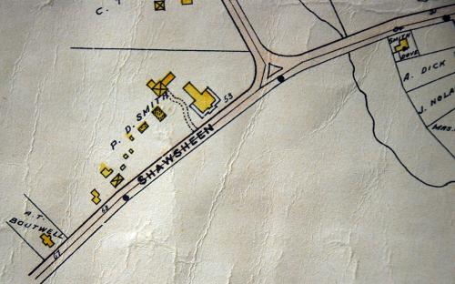 1906 map detail of Forest Hill and out buildings