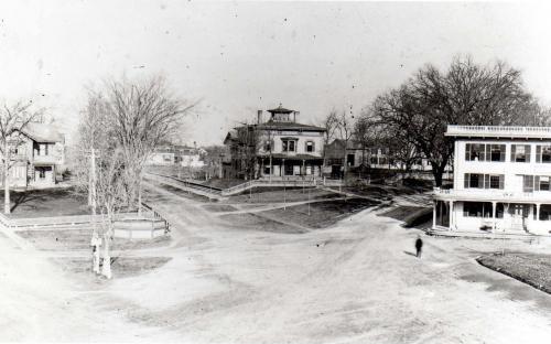 Elm Sq. 1880's  Punchard house, John Flint house and Elm House,