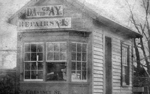David Gray's cobbler shop circa 1870.  David Gray died in August 1870