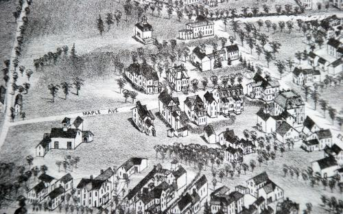 1882 Birdseye map detail of Maple Ave