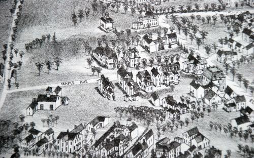 1882 Birdseye map detail of Maple Ave