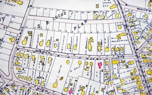 1906 Map detail of Maple Ave - unnamed Wolcott Ave above