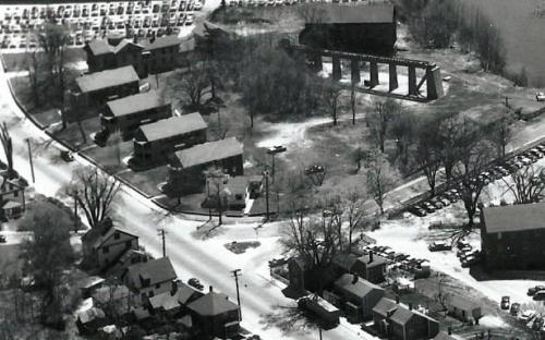 Birds eye view of Marland Village 1950s