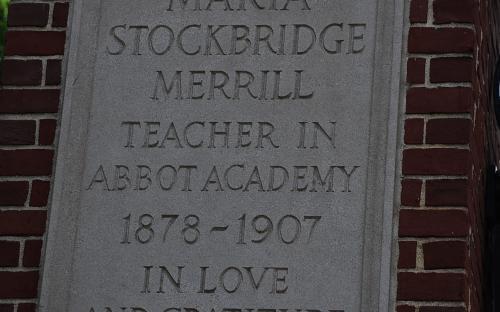 South pillar plaque - Marie Stockbridge Merrill