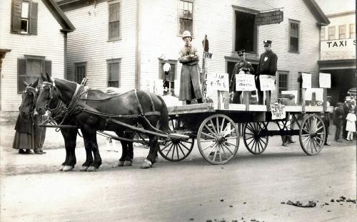Morrissery & Son at 34 Park St. circa 1914 - Horribles Parade float