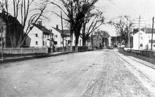 View of homes on left on site of Wood Park