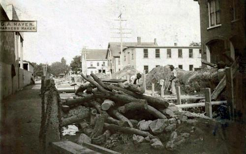 Park St. sewer construction 1898 - firehouse on right