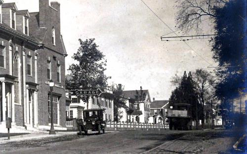 Circa 1920 note Taylor House cape & original Leith House right of automobile