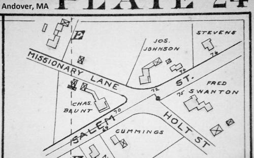1906 map insert of Salem St. & Missionary Rd. now Woodland Rd.