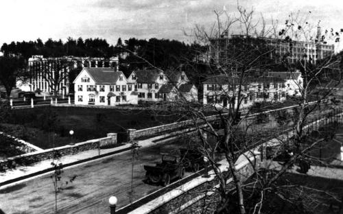 1921 site with moved and remodeled old Frye Village homes